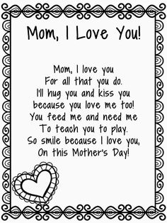 Mothers Day Poems For Kids Mothers Day Poems For Kids . Mothers Day Poems For Kids Mothers Day Poe Happy Mothers Day Poem, Mothers Day Songs, Mother Poems, Mom Poems, Mothers Day Crafts For Kids, Kids Poems, Diy Mothers Day Gifts, Mothers Day Quotes, Mothers Day Cards