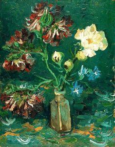 Vase with Myosotis and Peonies - Vincent van Gogh . Created in Paris in June, Located at Van Gogh Museum. Find a print of this Oil on Cardboard Painting Vincent Van Gogh, Artist Van Gogh, Van Gogh Art, Van Gogh Museum, Art Van, Flores Van Gogh, Desenhos Van Gogh, Van Gogh Flowers, Van Gogh Pinturas