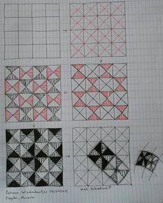 Tangle Pattern by Magda Aurora / Aurora's droomwerelden. Zentangle Drawings, Doodles Zentangles, Doodle Drawings, Doodle Patterns, Zentangle Patterns, Zen Doodle, Doodle Art, Mandala Design, Mandala Art