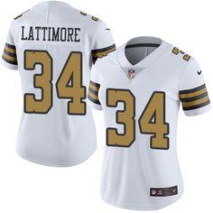 Women's Nike New Orleans Saints #34 Marshon Lattimore Limited White Rush NFL Jersey