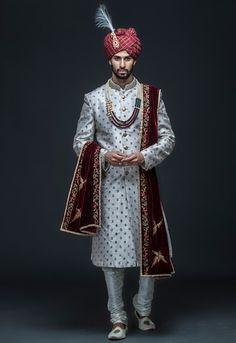 Ivory zari embroidered sherwani set by Gujralsons Sherwani For Men Wedding, Wedding Dresses Men Indian, Groom Wedding Dress, Wedding Outfits For Groom, Sherwani Groom, Men Wedding Fashion, Men's Wedding Wear, Blue Sherwani, Groom Fashion