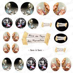 """images digitales pour cabochon thème Alice"""" face à face"""" - - à imprimer : Images digitales pour bijoux par patouille-et-gribouille"""
