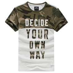 Summer Casual Cotton Tee Top Camouflage Round Neck Short Sleeve T-shirts for Men