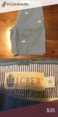 🆕 listing - NWOT- Men's shorts 🆕 listing - NWOT- Men's shorts in washed blue with embroidered white whales. Laundered but never worn. #M28 J. Crew Shorts Flat Front