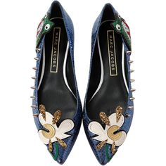 Marc Jacobs Daisy Ballerina (1.365 RON) ❤ liked on Polyvore featuring shoes, flats, blue flat shoes, blue shoes, studded ballet flats, studded ballerina flats and ballet flat shoes