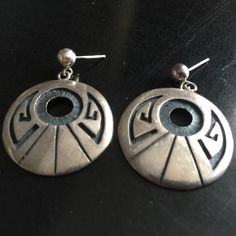 Circa 1960s Native American Sterling Silver Earrings - Hallmarked and Signed