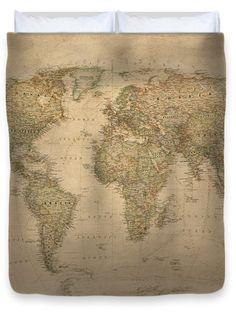 Vintage world map King Duvet Cover