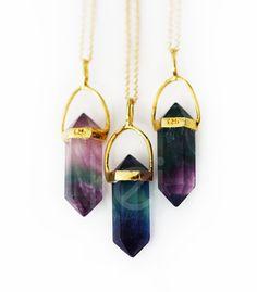 FLOURITE point necklace petite by keijewelry on Etsy jewel tones quartz stone boho gold mystical