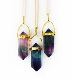 FLOURITE point necklace petite by keijewelry on Etsy jewel tones quartz stone boho gold mystical