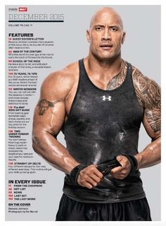 Dwayne Johnson on the December 2015 cover of Muscle & Fitness Magazine