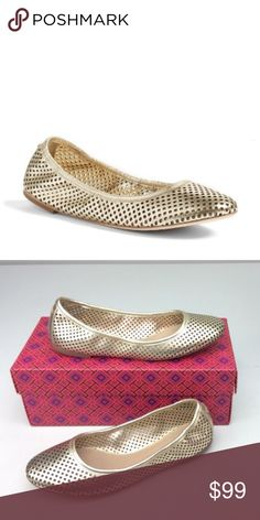6dd0869ccfce1b Tory Burch Jesse Perforated Ballet Flat in Gold Adorable Tory Burch Jesse Ballet  Flats Spark Gold