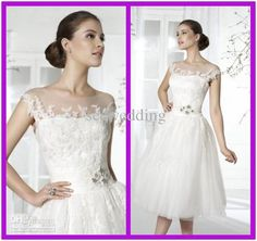 Wholesale Hot Sale Sexy A Line Sheer Straps Capped Sleeves Appliques Tulle Wedding Dresses Short Beach Wedding Dress 2013 Summer Casual Bridal Gowns, Free shipping, $112.0-134.4/Piece   DHgate