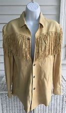 NWT NEW POLO RALPH LAUREN LEATHER SUEDE FRINGED SHIRT (VINTAGE CHAMOIS) SMALL