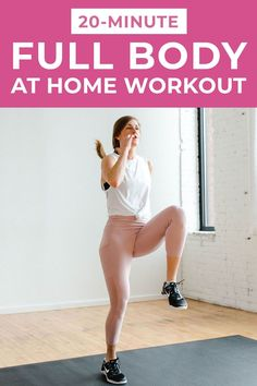 Sculpt your arms, legs, booty and core muscles in just 20 minutes with this AT HOME, full body workout! It combines strength training with HIIT for an effective, sweaty workout you can do at home! 20 Minute Hiit Workout, Hiit Workout Videos, Workout Videos For Women, Exercise Videos, Workout Plans, Excercise, At Home Total Body Workout, At Home Workouts, Body Workouts