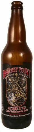 Ballast Point 'Victory at Sea' 2010  Style: Coffee-Vanilla Imperial Porter   This bad boy pours like motor oil and hits you in the nose with masses of espresso bean, herbaceous hops, caramel, vanilla, & dark dark chocolate. The same luxurious complexity comes across on the palate with additions of toffee, an extra lashing of vanilla, & an endless finish. As thick and velvety as the mightiest RIS's, but with a touch less alcohol. This gets an unwavering A from me  across all criteria. 4/5…