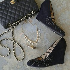 Studded Wedges Sz 10, black faux suede wedges with gold toned, rounded studs. EUC worn one. Soles are excellent Report Shoes Wedges
