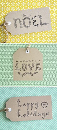 ypographic Gift Tags Printable  Adorable tags using adorable hand-lettering.  Free printable from Eat Drink Chic.