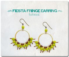 Fiesta Fringe Earrings tutorial with illustrated step-by-step how-to and instructions for making macrame fringed earrings.
