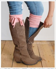 """Grace & Lace Patterned Jersey Tie Boot Cuff - Coral Step into our new ultra casual """"faux-sock"""" cuff with draw string self ties. Soft jersey heathered fabric is lightweight and hugs your leg for a perfect adjustable fit. Ties are removable and interchangeable to your heart's desire. Bow at the side or swing it around to the back - - either way people will ask where you got your """"socks""""! All seams are serged for a professional finish."""