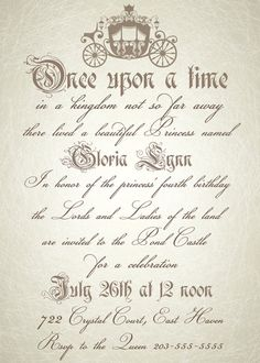 Royal Vintage Style Cinderella Birthday Party Invitations DIY Printable!