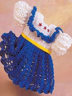Free Crochet Patterns: I can just see my little grand-daughter in this dress next July 4.  It will probably take me that long to get it done, but I'm going to try. Free Crochet Patterns: Baby Dress II