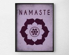 Namaste LotusYoga Print Yoga Studio Decor by LotusLeafCreations