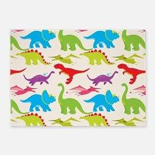 Cool Colorful Kids Dinosaur Pattern 5'x7'Area Rug for