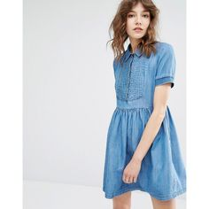 e9c2c5cd5d8c Paul   Joe Sister Paulina Ruffle Detail Denim Mini Dress (1.800 DKK) ❤ liked