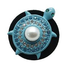 1 PC - 18MM Turtle Blue Rhinestone Silver Snap Candy Charm kb6847 CC1985