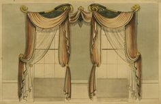 EKDuncan - My Fanciful Muse: Regency Furniture 1809 Ackermann's Repository Series 1 Small Curtains, Drapes Curtains, Drapery, Regency House, Regency Era, Window Coverings, Window Treatments, Victorian Curtains, Vintage Furniture Design