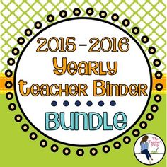 """The Yearly Teacher Binder Bundle - Citrus Grove includes everything you'll need to get your new school year started off on the right (and organized!) foot. Included in the bundle:19 Cover Pages19 Binder Sides (1"""", 1.5"""" and 2"""" sizes are included)12 month school calendar (July 2015 - June 2016)15 classroom organization forms (see below)Binder Pages for the Organized Teacher1."""