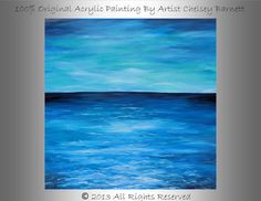 LARGE 36X36 100 Original Acrylic Ocean Painting by ChelseysFineArt, $149.99