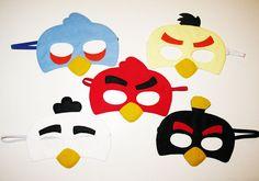 5 máscaras de aves enojado pack para niños y adultos por FeltFamily
