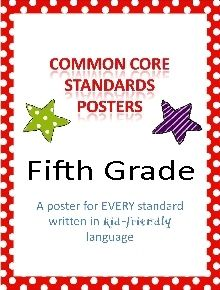 Common Core Standards posters for Fifth Grade