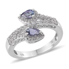Bondi Blue Tanzanite (Pear), White Topaz Ring in Platinum Overlay Sterling Silver Nickel Free (Size 6.0) TGW 1.56 Cts.