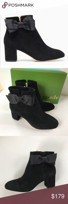 """NEW Kate Spade Langley suede ankle boot 7 and 10 Cutest Kate Spade NY boot ever! New in box. The Langley boot is an easy way to step up your street style--and maintain an enviable strut. A chic shiny grosgrain ribbon bow accents this everyday bootie's much-appreciated comforts, such as its stacked heel and rounded toe. Current style Not on sale at Kate Spade NY.   MATERIAL * 100% kid suede FEATURES * 2.5"""" heel * side grosgrain bow * rounded closed toe * style # s670623ks kate spade Shoes…"""