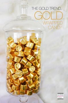 Check out this step-by-step post on How to Set Up a Holiday Gold Candy Table along with my girlfriend tips and shopping list! Golden Birthday Parties, Birthday Candy, 50th Birthday Party, Gold Birthday, 50th Wedding Anniversary Decorations, Anniversary Parties, 50th Anniversary, Gold Candy Bar, Gold Dessert