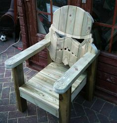 Obvious Winner - So Easy To See The Awesomeness - ow - Plant Your Butt in this Stormtrooper Adirondack LawnChair Outdoor Chairs, Outdoor Furniture, Outdoor Decor, Space Invaders, Amazing, Home Decor, Homemade Home Decor, Yard Furniture, Interior Design