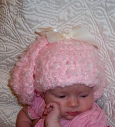 Bunny hat  Newborn Easter bunny hat  Pink by crochetedcuddles, $15.95  #bunny #easter #hat #rabbit #ear #ears #pink #fluffy #baby #hats