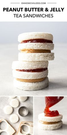 These cute tea sandwiches from Oh, How Civilized made from the classic combo of peanut butter and jelly. These adorable mini versions of a classic favorite are the perfect addition to your next tea party! Great to make with kids and perfect to serve for a kid's afternoon tea party. #teapartyrecipes #teasandwhiches #fingersandwhiches #teapartyfood Sandwiches Afternoon Tea, Tea Party Sandwiches, Afternoon Tea Recipes, Finger Sandwiches, Afternoon Tea Parties, Tea Snacks, Sandwich Fillings, Tea Cookies, Fruit Jam