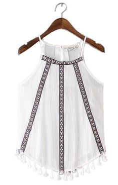 Specifications: Item Type:Tops Gender:Women Decoration:Embroidery Clothing Length:Regular Pattern Type:Geometric Fabric Type:Broadcloth Material:Cotton,Polyester Tops Type:Tank Tops Style:Fashion Colo                                                                                                                                                                                 More