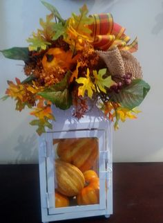 Fall Lantern Fall Lanterns, White Lanterns, Fall Plaid, Oak Leaves, Mini Pumpkins, Gourds, Burlap, Artisan, Candles