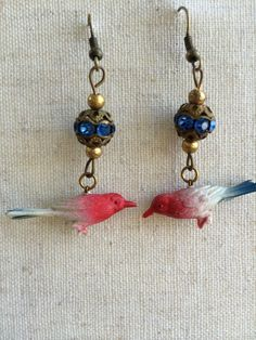 Vintage Celluoid bird earrings hand assembled one by thejunkdiva, $30.00