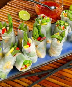 Asparagus Spring Rolls with Sweet Red Chili Dipping Sauce http://wm13.walmart.com/Cook/Recipes/22013