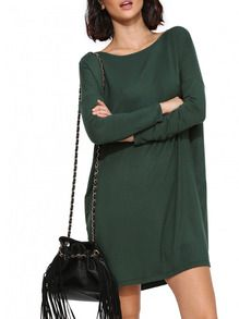 Robe verte pull and bear
