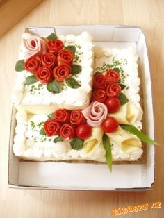 My Recipes, Holiday Recipes, Healthy Recipes, Watermelon Carving, Sandwich Cake, Food Decoration, Holiday Appetizers, Party Desserts, Antipasto