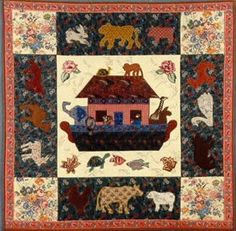 Noah's Ark Animals - with x Ark - Ark fits on - square background (with format ideas for quilts, hanging & mini projects). Applique Quilt Patterns, Ark, Mini, Projects, Animals, Ideas, Log Projects, Blue Prints, Animales