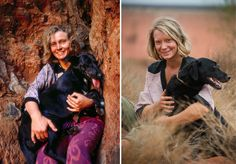 Robyn Davidson with her dog, Diggity, in (Left) Actor Mia Wasikowska is seen with the movie-version of Diggity at Ayers Rock in (Right). Robyn Davidson, Mia Wasikowska, Charles Bronson, Joseph Gordon Levitt, Edward Snowden, Michael Fassbender, Tom Hardy Bronson, Tracks Movie, Danish Girl