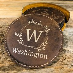 Leather Gifts, Leather Craft, Custom Engraving, Engraving Ideas, Laser Engraving, 3rd Anniversary Gifts, Leather Coasters, Custom Coasters, Leather Keychain