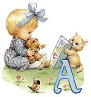 Alfabeto de nenita con peluche y gatito.